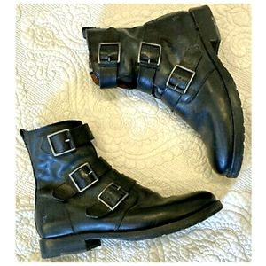 FRYE NATALIE Triple Buckle Genuine Leather Boots